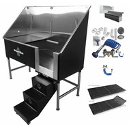 "Groomers Best 58"" Elite Tub w/Pull Steps, Faucet, Hair Trap, Grate, Holder - Pkg Deal!"