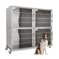 Petlift Laci 4 Unit Stainless Cage Bank w/Wheeled Frame