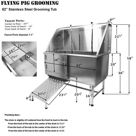 Flying Pig 62x28 Stainless Pet Tub w/Ramp, Dimensions
