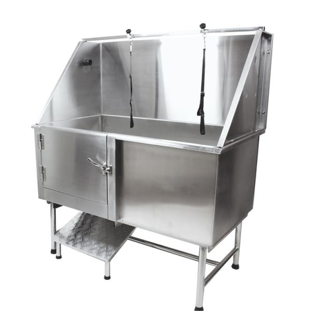 Flying Pig 62x28 Stainless Pet Tub w/Ramp, Door Closed