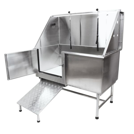 Flying Pig 62x28 Stainless Pet Tub w/Ramp, Door Open