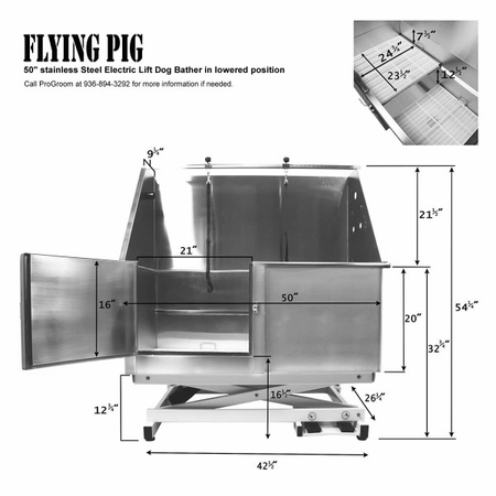 Flying Pig FP801 50x28 Electric Lift Pet Tub - Lowered Dimensions