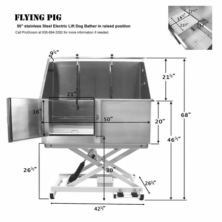 Flying Pig FP801 50x28 Electric Lift Pet Tub - Raised Position Dimensions