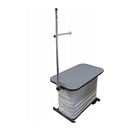 """Ascot 42"""" Low Boy Electric Scissor Lift Table, Grooming Arm, Bellows, Casters"""